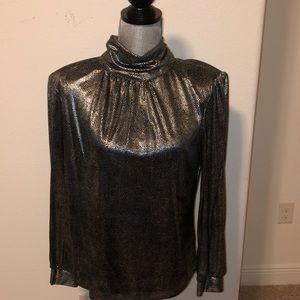 Vintage blouse mock neck shimmery pewter